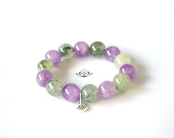Natural Rutilated Prehnite and Amethyst Beads Stretch Bracelet in 10, 12, or 14mm diameter
