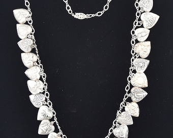 Vintage Antique Sterling Silver Puffy Heart Necklace - 24 Puffy Hearts!