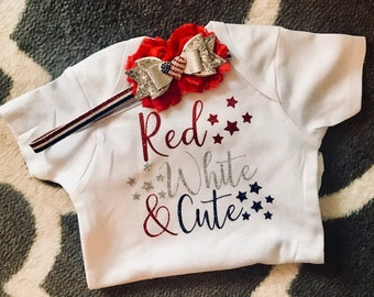 Fourth of July Baby - Baby Girl Outfit - Patriotic Baby Outfit - 4th of July Headband - Baby Girl Clothes - Red White Blue Baby Bow