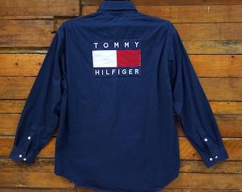 Rare Vintage Tommy Hilfiger Big Logo Button Down Shirt/Size L/Hip Hop /Street Wear