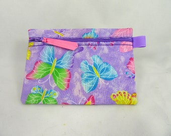 Colorful Butterfly Zippered Lined Cotton Fabric Cosmetic Pouch