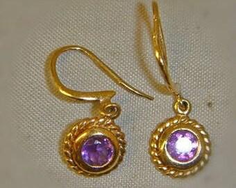 Vintage Pair of 9ct gold amethyst earrings, Amethyst Earrings, February Birthstone, February Birthday, Purple Earrings, Gold, Valentines
