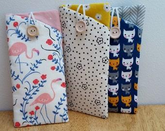 Sunglass Case, Eyeglass Case, Eyeglass Holder, Flamingo Cats Fabric Eyeglass Sunglass pouch cheerful colors with button & elastic closure