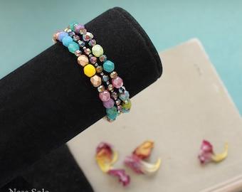 Bohemian bracelet set Colorful boho bracelets Boho jewelry Stackable bracelets Boho beaded bracelet Multicolor Multistrand bracelet Armcandy
