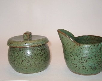 Hand Thrown and Altered Pottery Sugar and Creamer Set