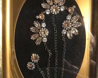 Framed jewel spring flowers art in shadow box