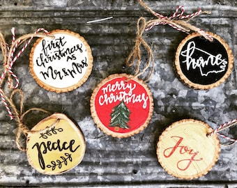wood slice ornament- Christmas ornament- tree decor- rustic decor- Merry Christmas- personalized gifts