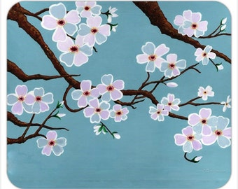 Teal Blue Cherry Blossom Tree Mousepad - Teal Cherry Blossom Branch Mousepad - Floral Mother's day gift sakura mousepad