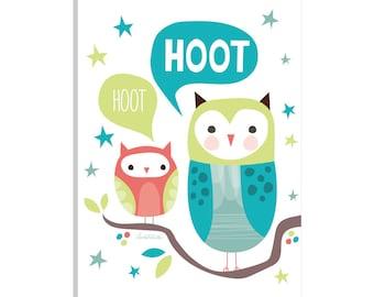 iCanvas Hoot Hoot I  Gallery Wrapped Canvas Art Print by Lamai McCartan
