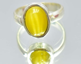 21.35Ct Certified US Size-7.5 Beautiful Yellow Cat's Eye Ring Gems 925 Sterling Silver AU4952