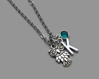 Owl Charm Necklace, Owl Necklace, Owl Jewelry, Initial Necklace, Birthstone Necklace, Personalized Charm Necklace, Stainless Steel Chain