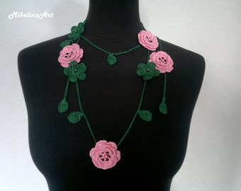 Crochet Rose Necklace,Crochet Neck Accessory, Flower Necklace,Dark Green & Pink, 100% Cotton.