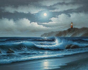 Light House in Night Ocean  24x36  100% Hand Painted  Oil Painting on Canvas