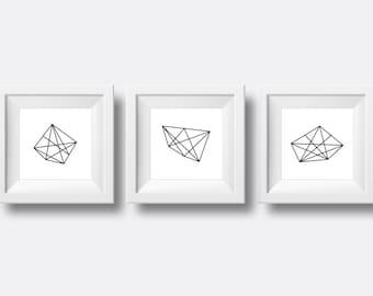 Printable Minimalistic Geometric Rocks, set of 3