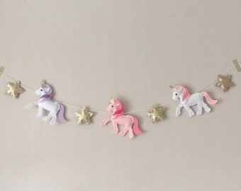 Unicorn and gold star garland
