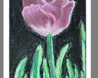 "PRINT of Original Signed Painting, Flower Artwork, ""Single Pink Tulip"""