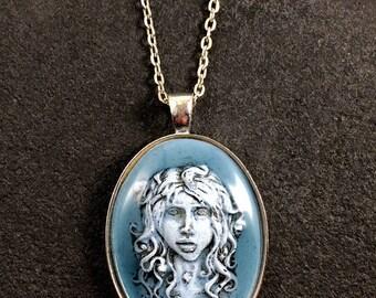 Medusa necklace - Medusa key-ring - Resin medusa cameo  - Blue medusa cameo
