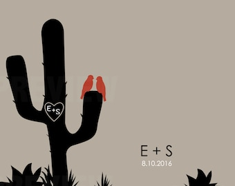 """Desert cactus personalized digital print - """"CACTUS WEDDING"""" with initials and wedding date with cactus, succulent designs for gifts,"""