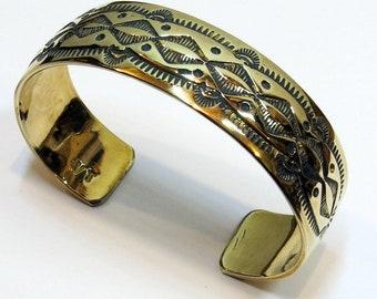 Vintage Navajo, stamped Brass, Cuff Bracelet, signed VT