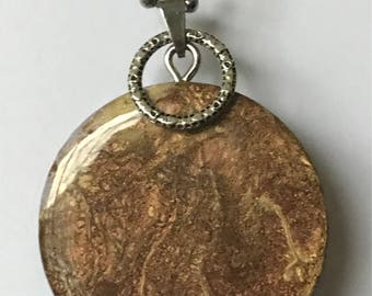 Fluid Art Necklace, OOAK Hand Painted Jewelry, Unique and Thought Provoking! Brown Gold