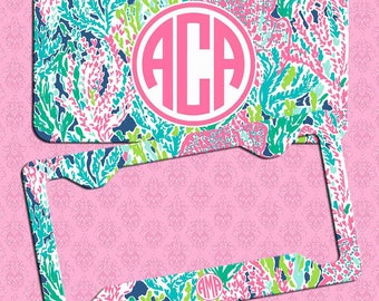 Monogrammed License Plate, Lily Pulitzer Inspired Car Coaster,Monogrammed License Plate Frame,Lilly Inspired, Monogram Lilly Car Accessories