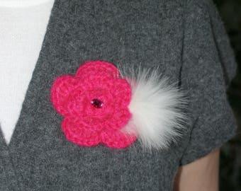 Handmade, Crochet Flower Brooch in Pink, Crochet Flower, Crochet Jewelry, Accessory