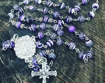 Catholic Rosary ~ Rosary Beads  ~ Purple Rosary ~ Miraculous Mary ~ Traditional  Catholic Rosary  ~ Catholic Gift ~ Purple ~ Womans Rosary ~
