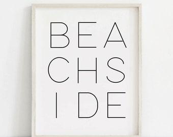 Beach Wall Art, Black White Beach Print, Minimal Beach Print, Cottage Decor, Beach Decor, Coastal Decor, Lake Wall Art, Cottage Wall Art