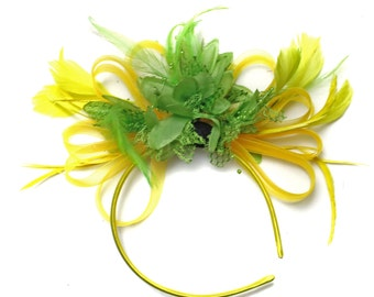 Bright Yellow & Lime Green Feathers Fascinator on Headband