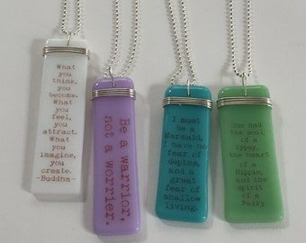 Inspirational gift, Custom quotes, personalized, healing, friendship, encouragement, cancer, Story Pendants-fused glass by Designs by Leslie