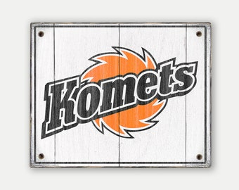 Fort Wayne Komets sign - Print applied to wood - Komets hockey fan gift - Man cave Boys room Sports Bar decor Fathers Day gift for Dad