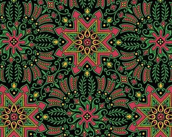 Andover Fabrics Downton Abbey Christmas Metallic Holiday Wreaths 7802 MK - 100% Cotton Fabric - Victorian