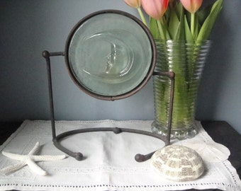 Vintage rustic metal and glass moon candle holder