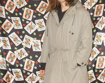 Vintage 80s Grey Faux Lined Hooded Trench Coat