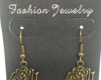 Handmade Antique Bronze Rose Earrings