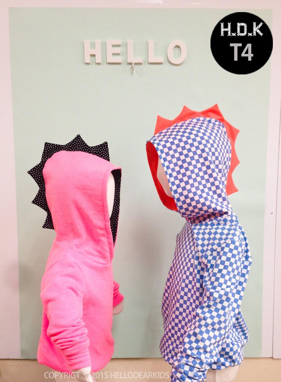 kids sewing pattern pdf/ kids Dino hoodie/ children