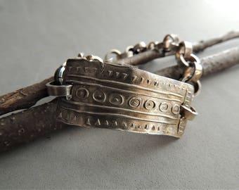 Heavy Sterling Silver Bracelet, Handmade Chain Southwestern Design, Rustic Silver Bracelet Link, Handmade Silver Chain, Artisan Jewelry