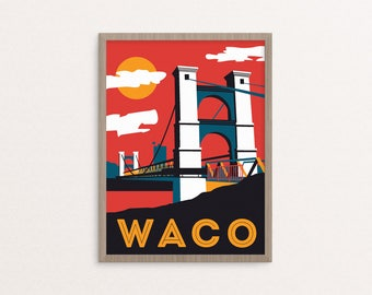 Waco Supsension Bridge 9x12 poster