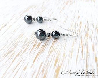 Hematite Earrings, Dangle Earrings, Gemstone Earrings, Hematite Jewelry, Metallic Earrings, Gemstone Jewelry, Stone Jewelry, Healing Jewelry