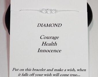 April Birthday Bracelet or Anklet - Swarovski Diamond Birthstone, BFF, Best Friend, Friendship Gift, Inspirational, Meaningful Gift