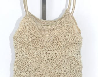 Vintage Laura Ashley Crochet Stretch Woven Cream Bag