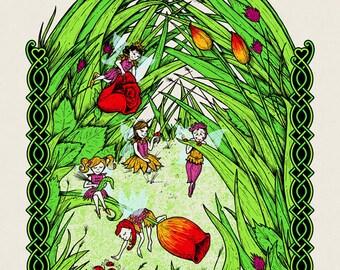 Counting Ladybugs (Fairy art print)