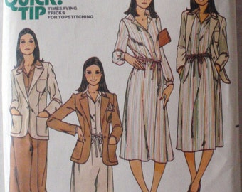 Butterick 5933 Sewing Pattern - Woman's Button Front Shirt, Unlined Jacket and Front Wrap Skirt - Size 12, Bust 34, Uncut