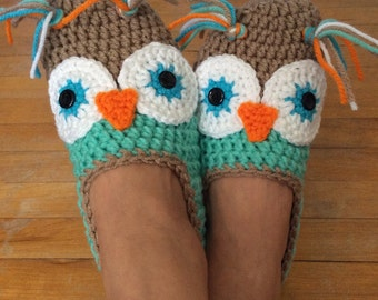 Crochet Owl Slippers - Custom Made - Women/Men/Children - Handmade - Made to order