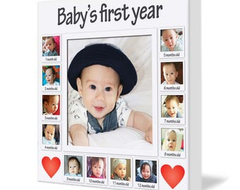 Baby's first year / Presonalised photo on canvas print