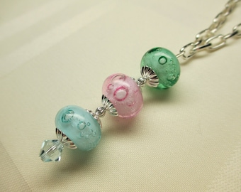 Bubble Lampwork Bead Necklace in Pastels 2