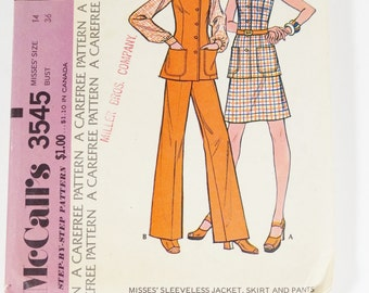 McCalls 3545 - Misses Sleeveless Jacket, Skirt, and Pants - 1973 Vintage Pattern - Size 14