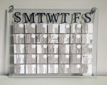 acrylic dry-erase calendar // navy letters + distressed wood // wall calendar // wipeboard // dorm decor // office // wall art