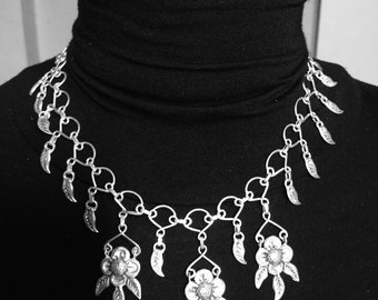 Mexican Silver Necklace Flowers and Chain
