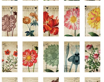 Window Flower Dominoes - Ceramic Decals- Enamel Decal - Fusible Decal - Glass Fusing Decal ~ Waterslide Decal - 61235